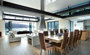 contemporary open floor plan living area